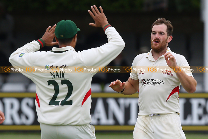 Ben Raine of Leicestershire celebrates taking the wicket of Ryan ten Doeschate - Essex CCC vs Leicestershire CCC - LV County Championship Division Two Cricket at the Essex County Ground, Chelmsford, Essex - 31/05/15 - MANDATORY CREDIT: Gavin Ellis/TGSPHOTO - Self billing applies where appropriate - contact@tgsphoto.co.uk - NO UNPAID USE
