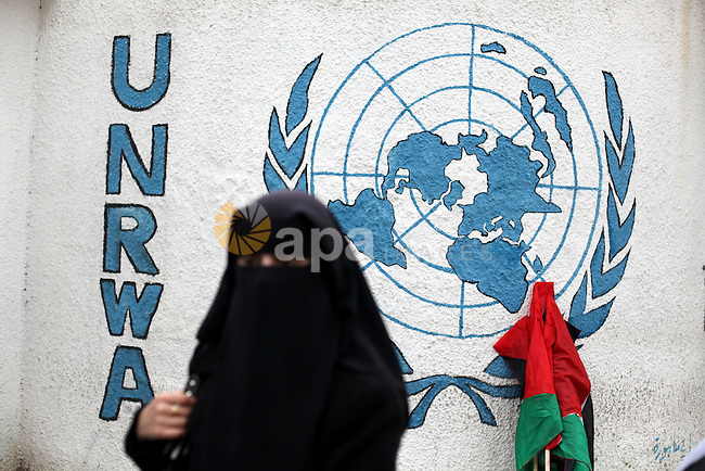 A Palestinian woman stands in front of U.N. headquarter office during a demonstration in support of the Syrian people in Gaza city on February 5, 2013. Pressure mounted on Syrian President Bashar al-Assad to respond to a surprise offer of talks by his main political opponents aimed at ending warfare in which tens of thousands of people have died. Photo by Majdi Fathi