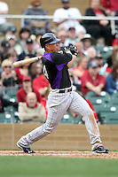 Cole Garner of the Colorado Rockies plays in a spring training game against the Arizona Diamondbacks at Salt River Fields on February 26, 2011  in Scottsdale, Arizona. .Photo by:  Bill Mitchell/Four Seam Images.