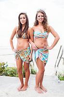 Aubrey Beckman and Karlee Schleif take it tropical at Vanderbilt Beach Resort, vanderbiltbeachresort, in Tara Grinna swim wear, taragrinna-swimwear.com. at Vanderbilt Beach Resort, Naples, July 27, 2012.  Photo by Debi Pittman Wilkey/Coastal Life Magazine.
