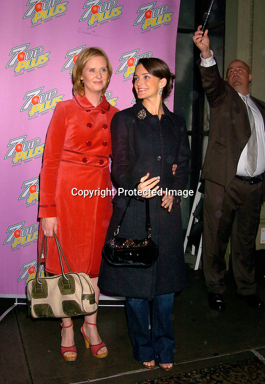 Cynthia Nixon and Kristin Davis ..at a screening of the new 7 UP PLUS Commercials, which..star Kelly Ripa, Regis Philbin, Kristin Davis and Cynthia Nixon on October 19, 2004 at the Great Jones Spa. ..Photo by Robin Platzer, Twin Images..
