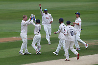 Simon Harmer of Essex celebrates with his team mates after taking the wicket of Jonathan Tattersall during Essex CCC vs Yorkshire CCC, Specsavers County Championship Division 1 Cricket at The Cloudfm County Ground on 9th July 2019
