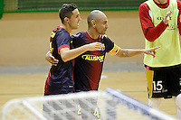 FC Barcelona Alusport's Ari Santos (r) and Aicardo celebrate goal during Spanish National Futsal League match.November 24,2012. (ALTERPHOTOS/Acero) /NortePhoto