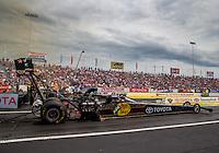 Jun 6, 2015; Englishtown, NJ, USA; NHRA top fuel driver Shawn Langdon during qualifying for the Summernationals at Old Bridge Township Raceway Park. Mandatory Credit: Mark J. Rebilas-