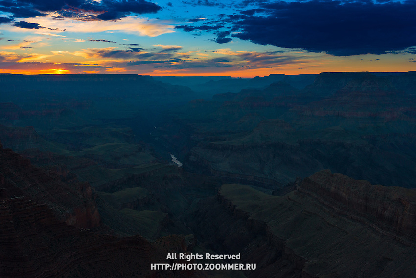 Grand Canyon And Colorado River Landscape At Sunset, Arizona
