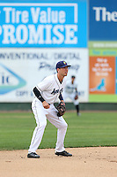 Drew Jackson (5) of the Everett AquaSox in the field during a game against the Spokane Indians at Everett Memorial Stadium on July 24, 2015 in Everett, Washington. Everett defeated Spokane, 8-6. (Larry Goren/Four Seam Images)