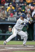 Michigan Wolverines first baseman Jake Bivens (18) at bat against the Michigan State Spartans on May 19, 2017 at Ray Fisher Stadium in Ann Arbor, Michigan. Michigan defeated Michigan State 11-6. (Andrew Woolley/Four Seam Images)
