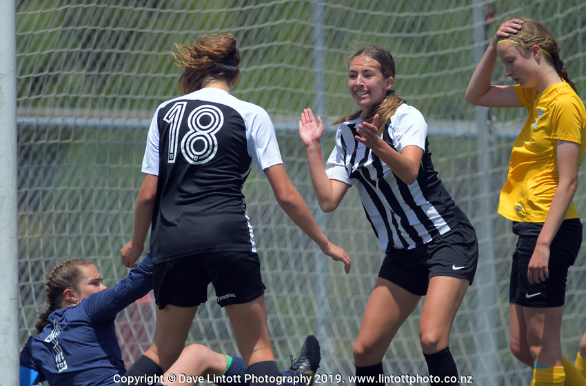 Action from the 2019 National Age Group Tournament Under-16 Girls football match between Northern and Capital at Memorial Park in Petone, Wellington, New Zealand on Sunday, 15 December 2019. Photo: Dave Lintott / lintottphoto.co.nz
