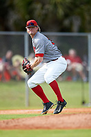 Illinois State Redbirds third baseman Ryan Hutchinson (38) during a game against the Ohio State Buckeyes on March 5, 2016 at North Charlotte Regional Park in Port Charlotte, Florida.  Illinois State defeated Ohio State 5-4.  (Mike Janes/Four Seam Images)