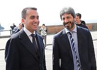 Luigi di Maio e Roberto Fico prima della presentazione del candidato sindaco di Napoli del movimento 5 stelle Roberto Fico nuovo presidente della Camera<br /> in alcune foto d'archivio
