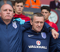 England Manager Aidy Boothroyd during the national anthems during the International match between England U20 and Brazil U20 at the Aggborough Stadium, Kidderminster, England on 4 September 2016. Photo by Andy Rowland / PRiME Media Images.