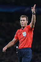 Referee Mr Felix Zwayer (GER) during the UEFA Champions League match between Chelsea and Maccabi Tel Aviv at Stamford Bridge, London, England on 16 September 2015. Photo by David Horn.