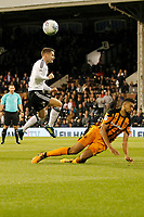 Oliver Norwood of Fulham sees his shot blocked during the Sky Bet Championship match between Fulham and Hull City at Craven Cottage, London, England on 13 September 2017. Photo by Carlton Myrie.