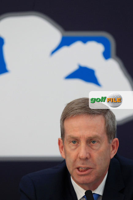 George O'Grady Chief Executive of The European Tour, H.E. Sultan Ahmed Bin Sulayem Chairman of DP World, at the DP world Tour Championship extension announcement during round 1 of the 2015 BMW PGA Championship over the West Course at Wentworth, Virgina Water, London. 21/05/2015<br /> Picture Fran Caffrey, www.golffile.ie: