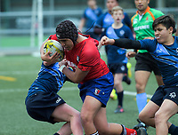 Action from the 2018 Hurricanes Secondary Schools Under-15 Boys' Rugby Tournament match between Kelston Boys' High School and Aotea College at Maidstone Park in Wellington, New Zealand on Thursday, 6 September 2018. Photo: Dave Lintott / lintottphoto.co.nz