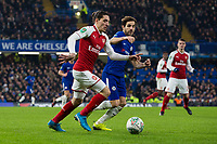 Arsenal's Hector Bellerin takes on Chelsea's Cesc Fabregas <br /> <br /> Photographer Craig Mercer/CameraSport<br /> <br /> The Carabao Cup - Semi-Final 1st Leg - Chelsea v Arsenal - Wednesday 10th January 2018 - Stamford Bridge - London<br />  <br /> World Copyright &copy; 2018 CameraSport. All rights reserved. 43 Linden Ave. Countesthorpe. Leicester. England. LE8 5PG - Tel: +44 (0) 116 277 4147 - admin@camerasport.com - www.camerasport.com