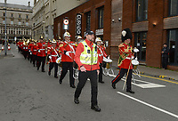 The Regimental Band of the Royal Welsh march through the streets of Cardiff heading to the Principality Stadium <br /> <br /> Photographer Ian Cook/CameraSport<br /> <br /> Under Armour Series Autumn Internationals - Wales v Scotland - Saturday 3rd November 2018 - Principality Stadium - Cardiff<br /> <br /> World Copyright &copy; 2018 CameraSport. All rights reserved. 43 Linden Ave. Countesthorpe. Leicester. England. LE8 5PG - Tel: +44 (0) 116 277 4147 - admin@camerasport.com - www.camerasport.com