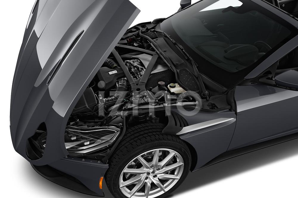 Car Stock 2018 Aston Martin DB11-Volante - 2 Door Convertible Engine  high angle detail view
