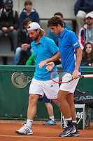 France, Paris, 28.05.2014. Tennis, French Open, Roland Garros, Robin Haase (NED) with his doubles partner Andre Begemann (GER) (L)<br /> Photo:Tennisimages/Henk Koster