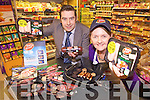 ONE HUNDRED PERCENT IRISH: Helen O'Mahony from Castleisland is part of a telly campaign for new Irish brand Truly Irish. From l-r were: Kevin O'Connor (Garvey's Supervalue) and Helen O'Mahony.