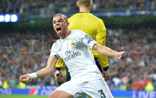 12.04.2016. Madrid, Spain.  Pepe of Madrid celebrates a goal from his team mate Ronaldo during the UEFA Champions League quarterfinal second leg  match between Real Madrid and VfL Wolfsburg at the Santiago Bernabeu stadium in Madrid, Spain, 12 April, 2016.