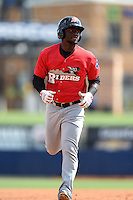 Frisco Rough Riders Odubel Herrera (16) running the bases during the first game of a doubleheader against the Tulsa Drillers on May 29, 2014 at ONEOK Field in Tulsa, Oklahoma.  Frisco defeated Tulsa 13-4.  (Mike Janes/Four Seam Images)