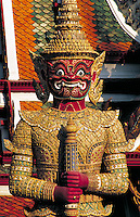 Tiled statue guarding the Grand Palace. Bangkok, Thailand.