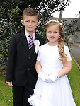 Twins Hakan and Fidan Topcu who received First Holy Communion in St. Cianan's church Duleek. Photo: Colin Bell/pressphotos.ie