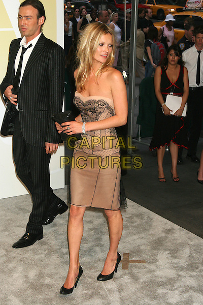 KATE MOSS.2005 CFDA Fashion Awards - Inside Arrivals.New York Public Library in New York City, New York, USA, June 6th 2005 .full  length cream beige black lace strapless dress clutch bag shoes.Ref: IW.www.capitalpictures.com.sales@capitalpictures.com.©Ian Wilson/Capital Pictures.