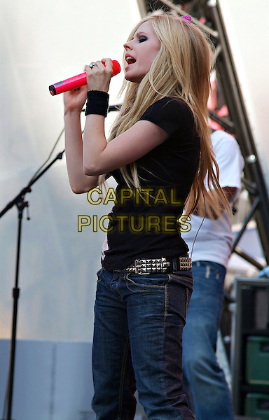 AVRIL LAVIGNE.At the 18th Annual MuchMusic Video Awards, Chum/City Building, Toronto, Ontario, Canada, USA..June 17th, 2007.much music half length black top stage concert live music gig performance profile jeans denim singing .CAP/ADM/BPC.©Brent Perniac/AdMedia/Capital Pictures
