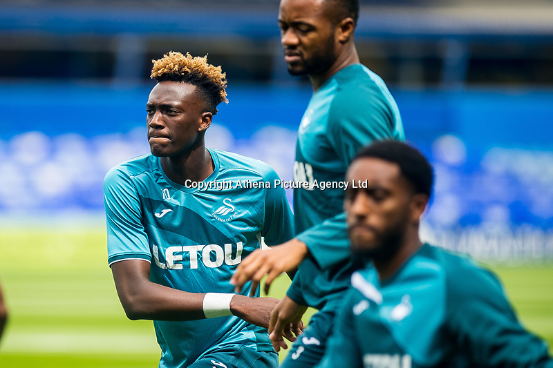 Tammy Abraham of Swansea City  ( left ) warms up during the Pre-season friendly match between Birmingham City and Swansea City at St Andrew's Stadium, Birmingham, England, UK. 29 July 2017