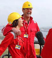JOHANN MULLER VISITS HARLAND &amp; WOLFF BELFAST -    Wednesday 30th April 2014<br /> <br /> Mariska Muller and Johann Muller are interviewed by the BBC NI's Gavin Andrews on top of the Samson crane during their Harland &amp; Wolff shipyard in Belfast.<br /> <br /> Mandatory Credit - Photo by John Dickson - DICKSONDIGITAL