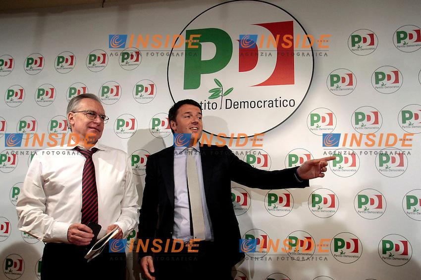 Giglielmo Epifani e Matteo Renzi<br /> Roma 08/12/2013 Sede del PD. Conferenza stampa di Matteo Renzi nuovo segretario del Partito Democratico.<br /> Press conference of the new secretary of Democratic Party.<br /> Photo Samantha Zucchi Insidefoto