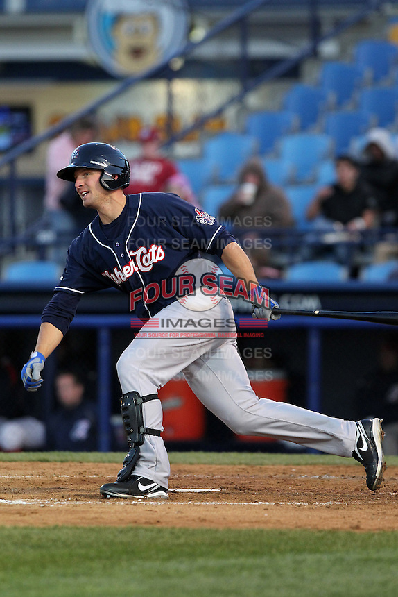 New Hampshire Fisher Cats outfielder Brad Glenn #44 during a game against the Reading Phillies at FirstEnergy Stadium on April 10, 2012 in Reading, Pennsylvania.  New Hampshire defeated Reading 3-2.  (Mike Janes/Four Seam Images)