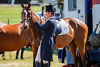 BEL-Constantin Van Rijckevorsel puts the final touches on Beat It before the CCI3*-S Section A Dressage. 2019 GBR-Barbury Castle International Horse Trial. Wiltshire, Great Britain. Thursday 4 July. Copyright Photo: Libby Law Photography