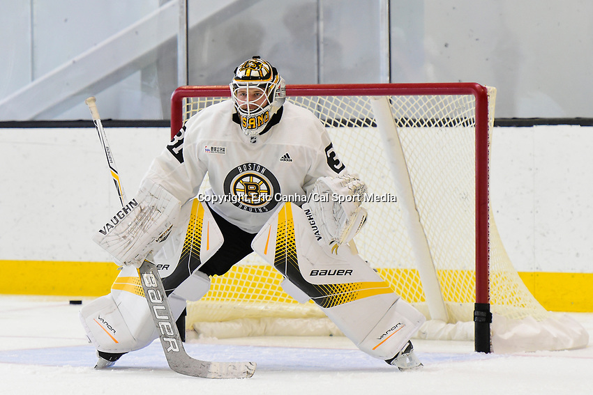 September 15, 2017: Boston Bruins goalie Zane McIntyre (31) tends the net during the Boston Bruins training camp held at Warrior Ice Arena in Brighton, Massachusetts. Eric Canha/CSM