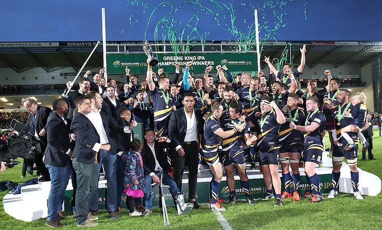 Worcester Warriors celebrate winning the Greene King IPA Championship <br /> <br /> Photo by Rachel Holborn/CameraSport<br /> <br /> Rugby Union - Greene King Championship Final 2nd Leg - Worcester Warriors v Bristol - Wednesday 27th May 2015 - Sixways Stadium - Worcester<br /> <br /> &copy; CameraSport - 43 Linden Ave. Countesthorpe. Leicester. England. LE8 5PG - Tel: +44 (0) 116 277 4147 - admin@camerasport.com - www.camerasport.com