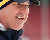 Mark Dennehy (Merrimack - Head Coach/Associate AD) -  - The participating teams in Hockey East's first doubleheader during Frozen Fenway practiced on January 3, 2014 at Fenway Park in Boston, Massachusetts.