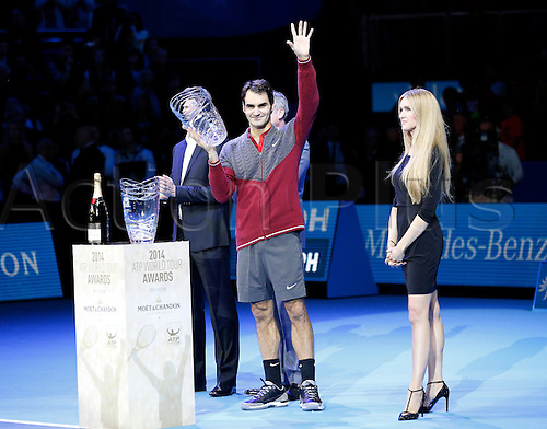 09.11.2014 London, England. Roger Federer receives the Moet & Chandon Stefan Edberg Sportmanship award and the Fans' Favourite award , ATP World Tour Finals, O2 Arena, London