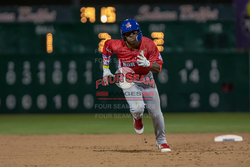Dairon Blanco (5) of the Stockton Ports in action against the South Division during the 2018 California League All-Star Game at The Hangar on June 19, 2018 in Lancaster, California. The North All-Stars defeated the South All-Stars 8-1.  (Donn Parris/Four Seam Images)