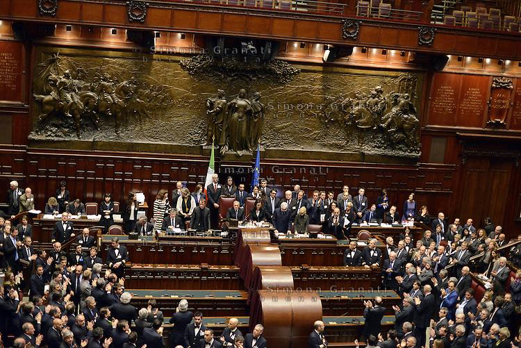 Roma, 20 Aprile 2013.Camera dei Deputati.Votazione del Presidente della Repubblica a camere riunite..Applausi per l'elezione di Giorgio Napolitano