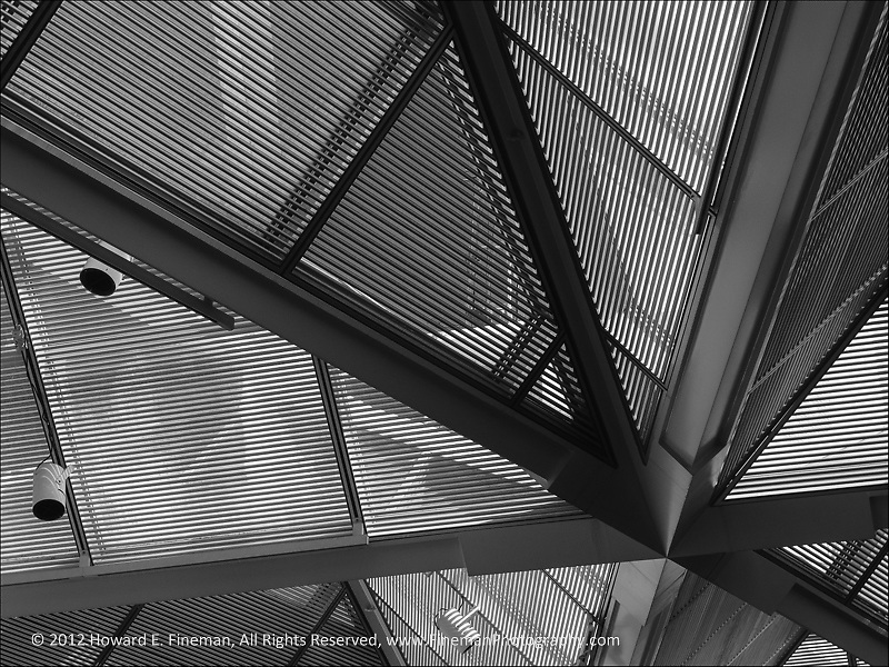 "This architectural abstract is one of three of my monochromes in a recent exhibit called ""Light And Shadow"" that was on display at NewTV's art gallery thru Nov'13."