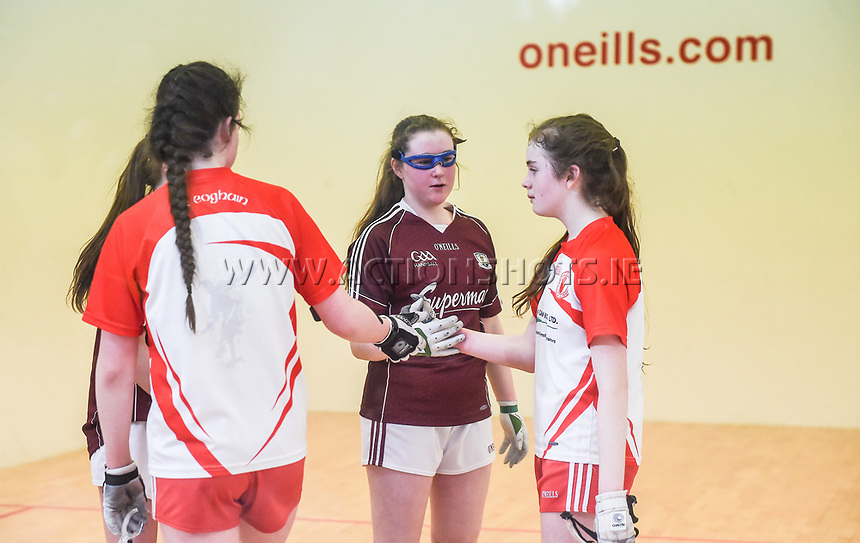 19/03/2018; 40x20 All Ireland Juvenile Championships Finals 2018; Kingscourt, Co Cavan;<br /> Girls Under-14 Doubles; Galway (Sky Ni Mhaille Breathnach/Eadaoin Nic Dhonnacha) v Tyrone (Dearbhla Fox/Cl&oacute;da Nic Con Midhe)<br /> The players shake hands after the match.<br /> Photo Credit: actionshots.ie/Tommy Grealy