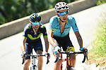 Fabio Aru (ITA) Astana and Alejandro Valverde (ESP) Movistar Team out front during Stage 8 of the Criterium du Dauphine 2017, running 115km from Albertville to Plateau de Solaison, France. 11th June 2017. <br /> Picture: ASO/A.Broadway | Cyclefile<br /> <br /> <br /> All photos usage must carry mandatory copyright credit (&copy; Cyclefile | ASO/A.Broadway)