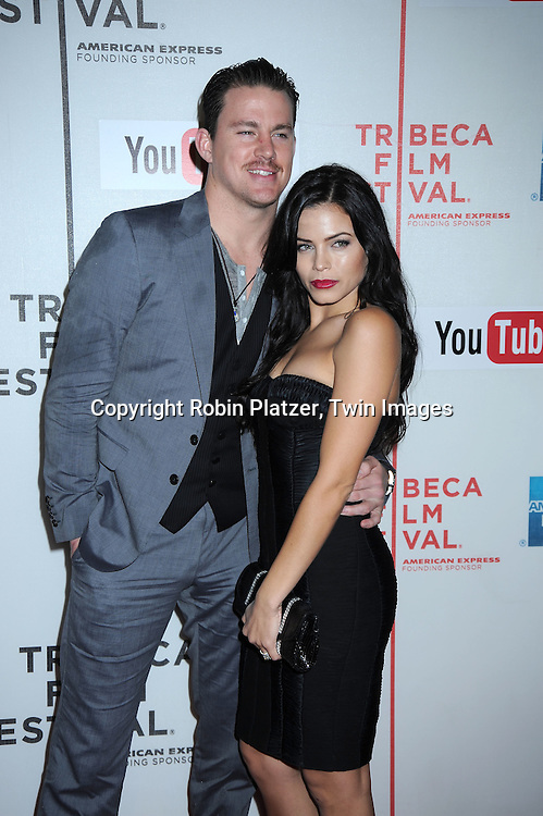 "actor Channing Tatum and wife Jenna Dewan posing at The Tribeca Film Festival  Premiere of "" Earth Made of Glass"" on April 26, 2010 at BMCC Tribeca Performing Arts Center in New York City."