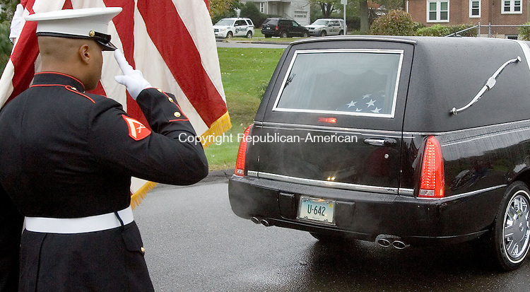 WATERBURY, CT. 05 October 2010-100510SV04--The body of Pfc. Gebrah Noonan leaves Albini Funeral Home on the way to New York for burial during funeral services in Waterbury Tuesday. The Watertown soldier died while serving in Iraq.&nbsp;<br /> Steven Valenti Republican-American