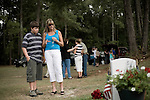 Saturday, August 8, Aberdeen, NC..A memorial service was held for Brent Gray, a former special forces soldier and private contractor killed in Iraq on August 18, 2006, at Bethesda Cemetery. After the cemetery, the memorial was continued at a favorite bar of Mr. Gray in nearby Southern Pines.. Jackie Mallory, right, an old family friend came to the memorial service.