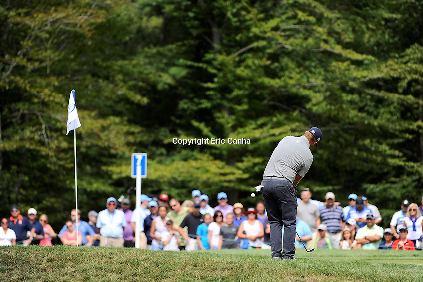 Saturday, September 3, 2016:  Ryan Moore chips the ball to the green during the second round of the Deutsche Bank Championship tournament held at the Tournament Players Club, in Norton, Massachusetts.  Eric Canha/Cal Sport Media