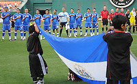 El Salvador National Team at the signing of the Salvadorian National Anthem.  DC United defeated El Salvador National Team 1-0 in a international charity match at RFK Stadium, Saturday June 19, 2010.