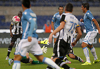 Calcio, Serie A: Lazio vs Udinese. Roma, stadio Olimpico, 13 settembre 2015.<br /> Lazio&rsquo;s Alessandro Matri, right, kicks to score during the Italian Serie A football match between Lazio and Udinese at Rome's Olympic stadium, 13 September 2015.<br /> UPDATE IMAGES PRESS/Isabella Bonotto